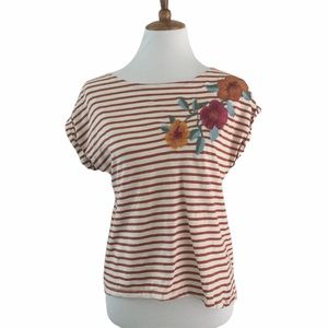 Anthro W5 orange striped embroidered floral tee, S